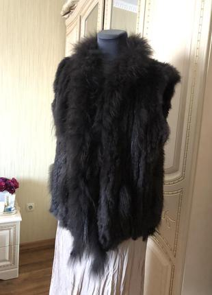 Натуральный меховый жилет жилетка, натуральный мех, вязаный мех