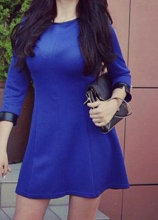 Платье мини в синем цвете