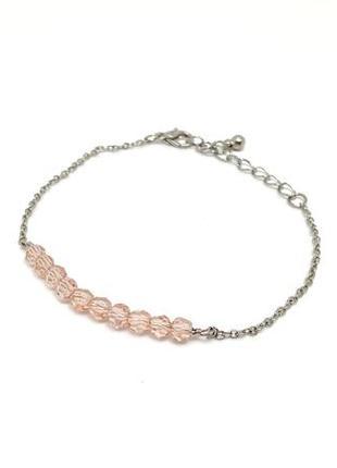 🌸🦄 нежный браслет-цепочка со стеклянными розовыми бусинками от h&m оригинал