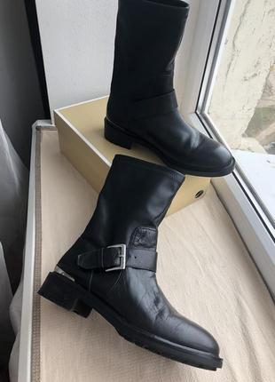 Кожаные ботинки zara woman 37 грубые кожа
