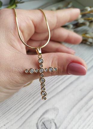 Позолоченный крест с камнями , медзолото