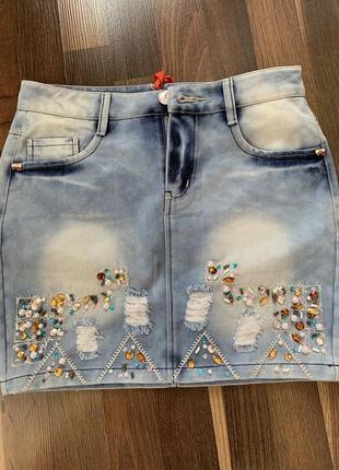 Юбка джинсовая 158