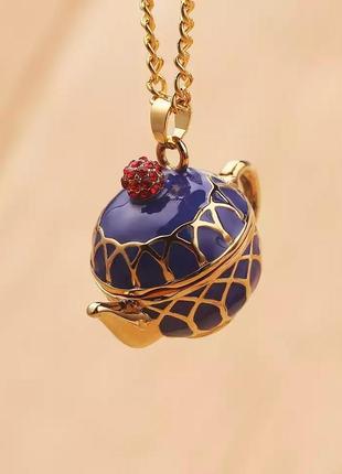Кулон чайник синий золото гжель ожерелье колье подвеска