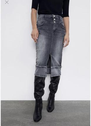 💝💝 💝 женская джинсовая юбка серая / джинсова жіноча спідниця бренд zara