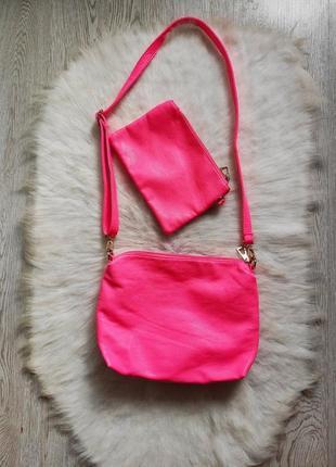 Розовый кожаный комплект набор сумок розовый клатч средняя сумка с длинной ручкой неон фук