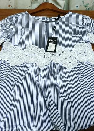 Женская котоновая блуза в полоску с кружевом