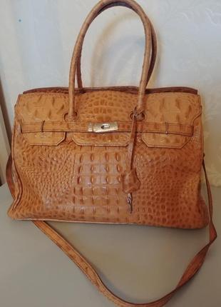 Большая сумка  из натуральной кожи borse in pelle италия
