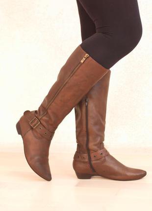 Кожаные сапоги из комбинированной натуральной кожи