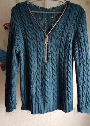 Пуловер женский со змейкой зеленый стильный