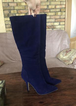 Синие замшевые сапоги на каблуке острый носок 38-38.5 centro
