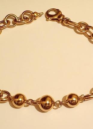 Скидка! шикарный золотой браслет с шариками