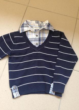 Кофта с воротником легкий свитер в полоску светрик сведр