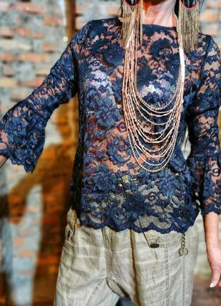 Блуза кружевная ажурная кружево ganni сетка стрейч