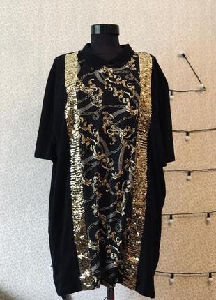 Моднейшее платье футболка с актуальным принтом