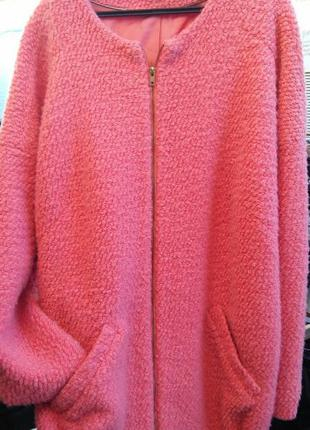 Шикарное розовое пальто на весну оверсайз шерсть atmosphere18