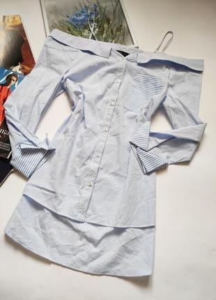 Рубашка с открытыми плечами хлопок от new look