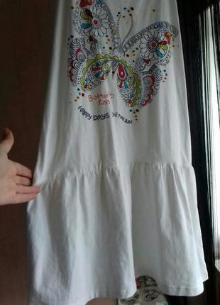 Белое котоновое платье-сарафан принт/стразы
