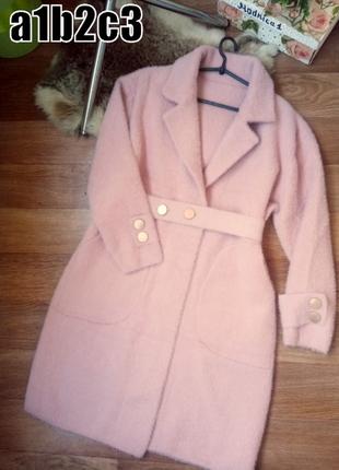 Женское демисезонное пальто миди альпака с поясом -----------3 цвета