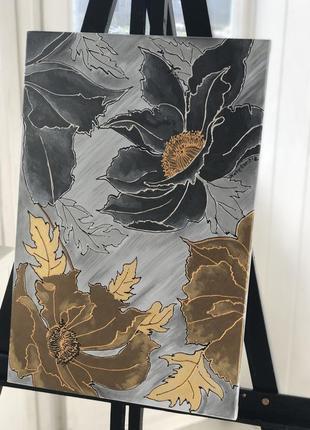 Картина акрилом цветы металлик