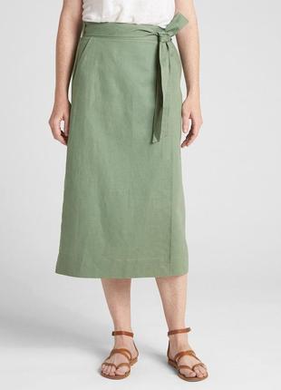 Миди юбка на запах натуральная ткань хлопок юбка лен