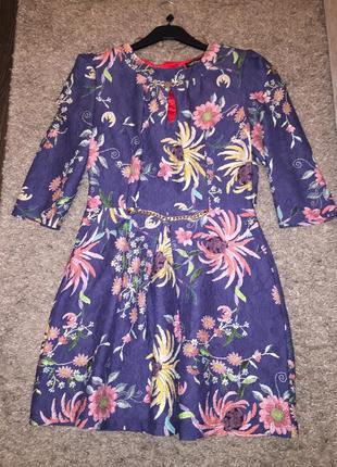 Красивое платье цветочный принт с гипюровой спинкой