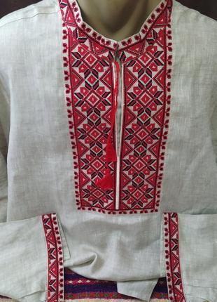 Мужская вышиванка борислав, лен, воротник 50