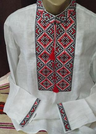 Мужская льняная вышиванка святослав, воротник 46