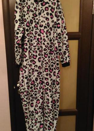 Леопардовый кигуруми/ пижама h&h, комбинезон для дома, тёплый,размер l