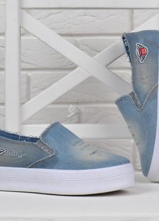 Кеды женские джинсовые слипоны cool jeans на танкетке