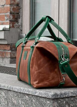 Дорожная сумка из коричневой кожи, кожаная спортивная сумка2 фото