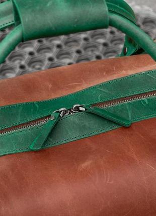 Дорожная сумка из коричневой кожи, кожаная спортивная сумка4 фото