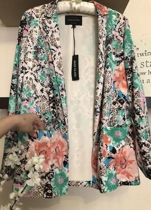 Яркий и очень красивый пиджак без застежек, пиджак весна лето
