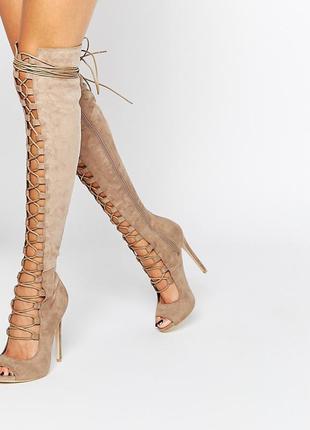 Cапоги asos daisy street бежевые со шнуровкой из искусственной замши
