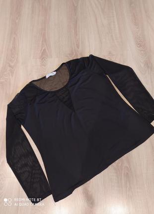 Блузка кофта сеточка с прозрачными рукавами трикотажная нарядная размер 54-56