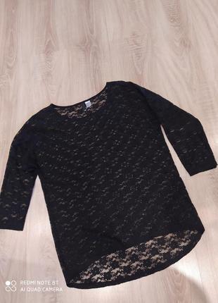 Кофта блузка ажурная кружевная нарядная рукав 3/4 размер 50 камбоджа