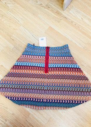Новая с биркой мини юбка комбинированная от topshop, сзади на молнии, трапеция