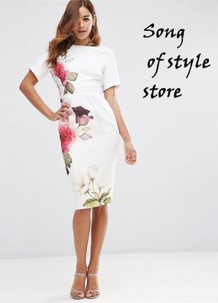 Asos облегающее платье с цветочным принтом р.34.36,38
