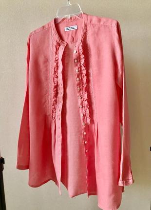 Льняная блузка цвет коралл