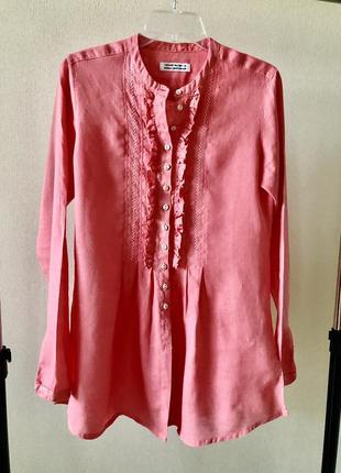 Льняная блузка туника цвет коралл