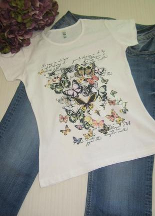 Белая футболка бабочки, есть модели