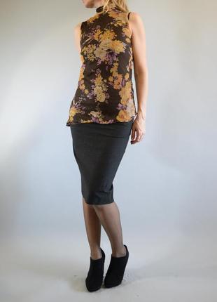 Шифоновая блуза без рукавов с цветочным принтом zara