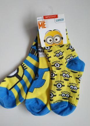 Носки носочки набор комплект 3 шт. для деток с миньйонами. оригинал англия