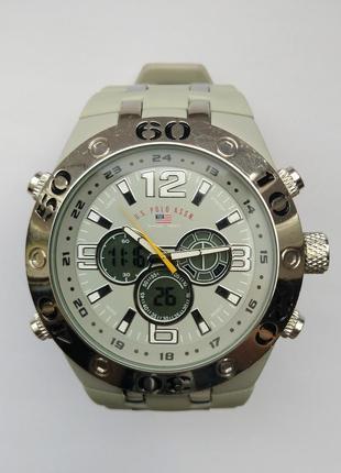 U.s. polo assn. мужские гибридные часы из сша секундомер будильник