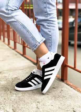 Adidas gazelle женские замшевые кроссовки адидас черный цвет (весна-лето-осень)😍