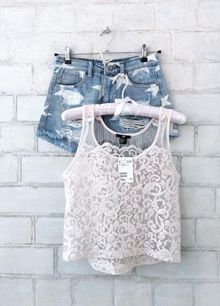 Топ, блуза, гипюровая майка в бельевом стиле h&m