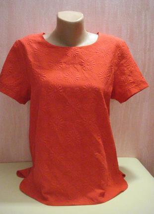 Красная блуза,кофта без рукавов  с цветамы f&f