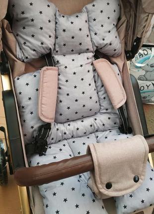Универсальный матрасик вкладыш в коляску стульчик качелю