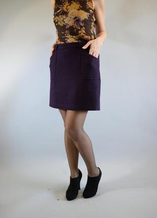 Мини юбка трапеция шерстяная с карманами мини-юбка с подкладкой tom tailor