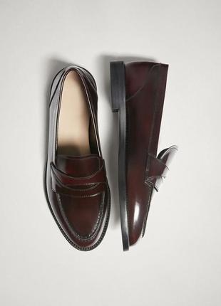 Кожаные бордовые туфли/лоферы massimo dutti