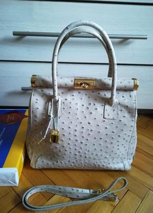 Статусная сумка из натуральной кожи страуса для деловой женщины borse in pelle